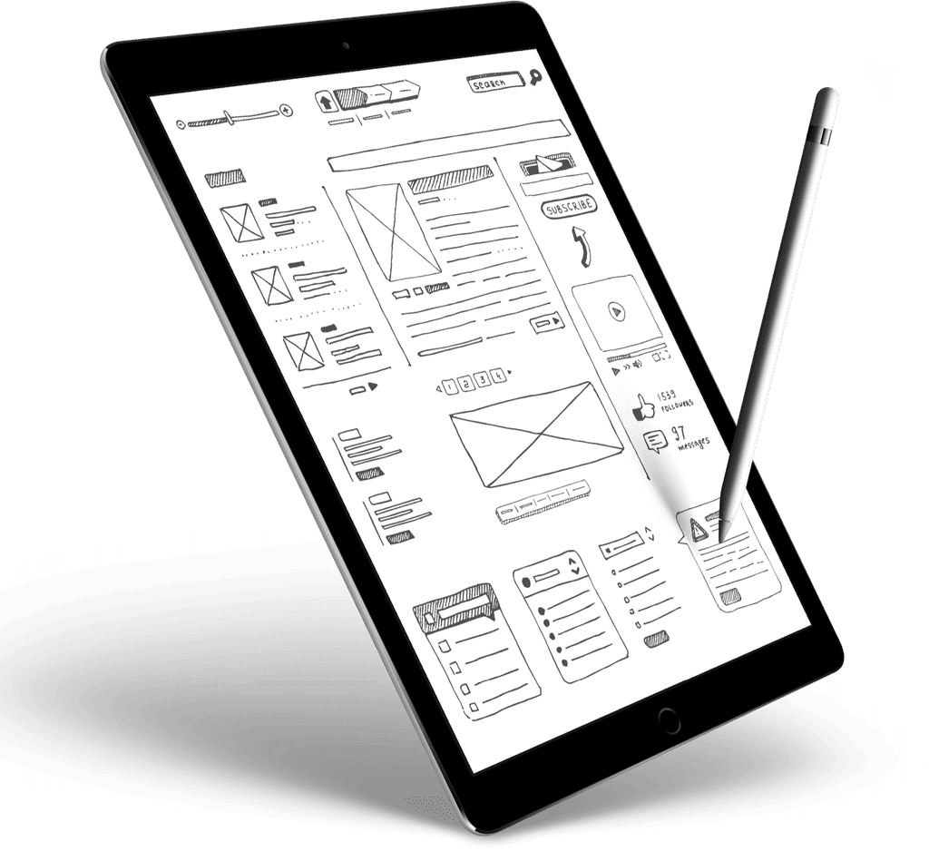 iPad And Apple Pencil Displaying Hand Drawn Diagram Representing Digital Marketing Tactics