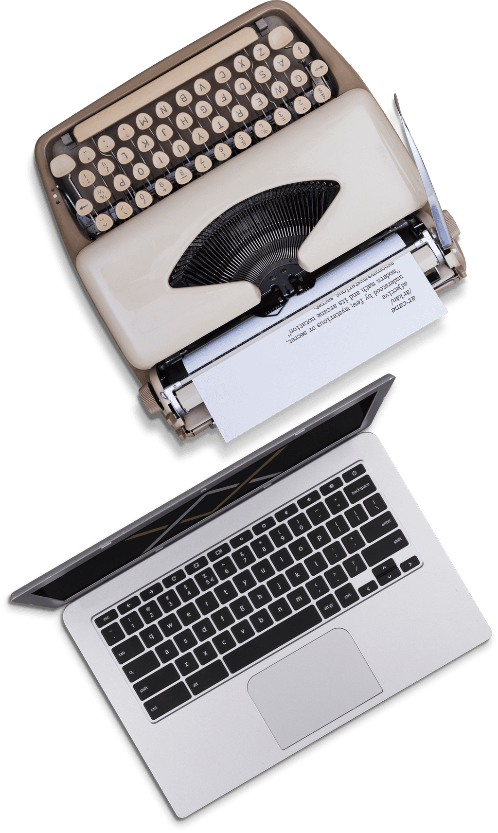 Top View of Typewriter And A Macbook